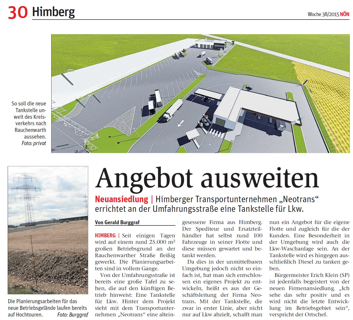 NÖN Pressebericht über Das Neue Projekt